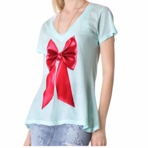 Wildfox green classic v-neck tee with red …